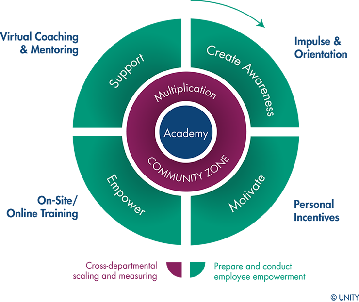 This graphic visualizes the key elements and the functionality of an academy.